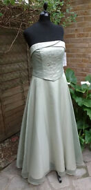 Pale Green sating and tulle Evening/Prom dress by Carducci - Size UK16