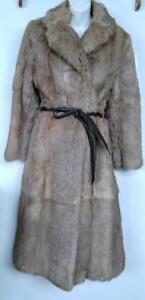 Oakville WOMENS S 6 Long Real Fur Coat with Tie Belt Brown Rabbit Excellent Extra-Long Jacket Soft Warm