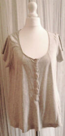 Grey Marl Scoop Neck Short Sleeve Top with Snaps Detailing from Next.Size 14.