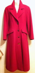 OAKVILLE WOMENS 5 6 SMALL LONG RED WOOL COAT FINE CASHMERE BLEND WARM FULL LENGTH TALL THIN SLIM ..FREE SCARF Canada
