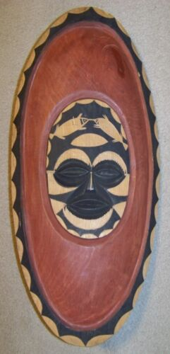 Authentic Hand Carved Painted AFRICA WOOD MASK SHIELD African Wall Hanging