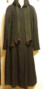 14 TALL GIRL Long Black Raincoat Loose Wool Liner OOAK Womens Large Very Tall Ladies Lady Free Scarf with Mink Fur