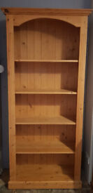 Solid Pine Wooden Tall Bookcase in Good Condition