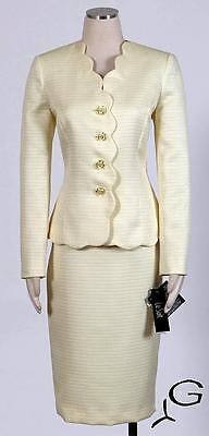 Le Suit Lemon Ice Skirt Suit Size 12P Textured Polyester Women's New*