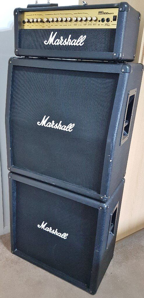 Marshall Lead Guitar Full Stack Mg100hdfx Head Mg412b