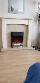 White complete fireplace
