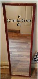 Tall mirror for sale light brown wooden framed