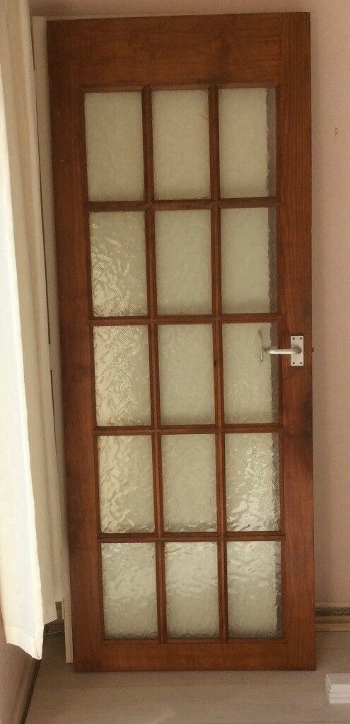 Internal Wooden Frosted Glass Door Will Handle In