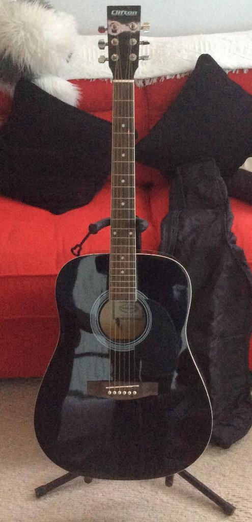 Clifton Acoustic Guitar with stand and soft carry case