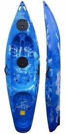 One Man/Person Sit On Top Kayak Ideal for Fishing - 9.4ft Long - Blue & White - Riber