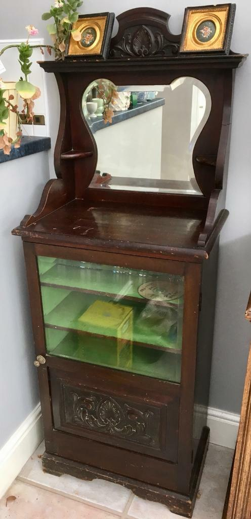 Mahogany Antique Music Cabinet with Mirror - Mahogany Antique Music Cabinet With Mirror In Carlton