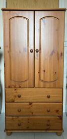Nordic 2 Door 3 Drawer Pine Wardrobe