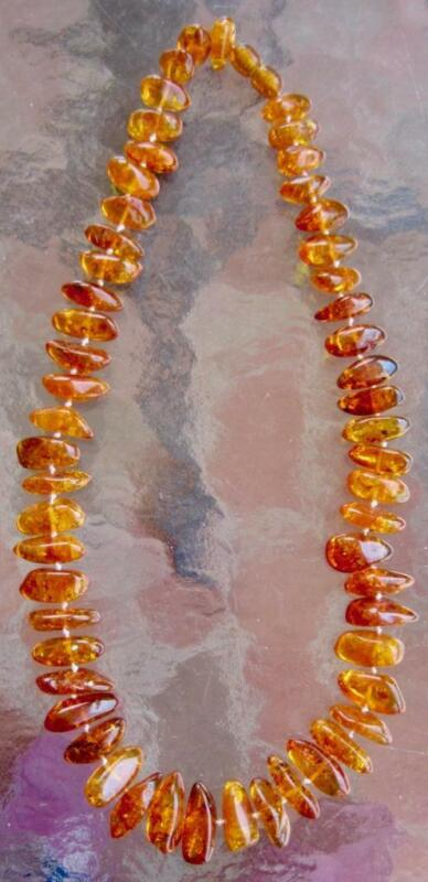 """Baltic Amber  Red  Chunkey Nuggets Translucent Strung  Russian 34 grams 18"""""""