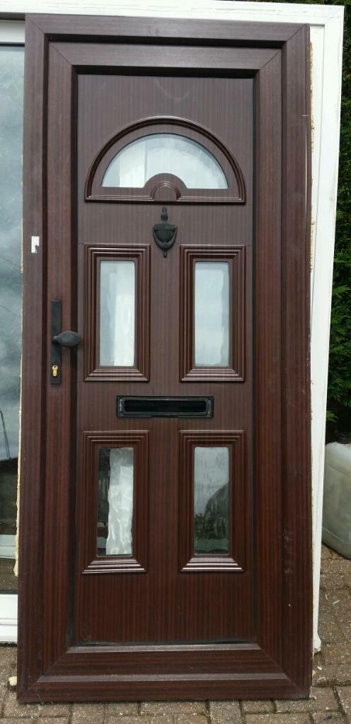 Upvc double glazed front woodgrain brown door in for Brown upvc door
