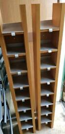 2 solid beech habitat CD stands with stainless steel shelves