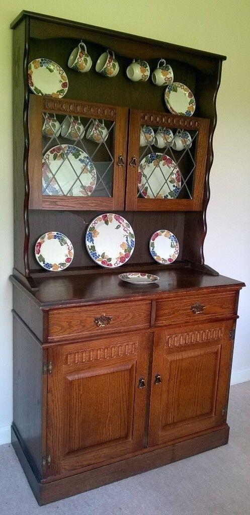 Dark Oak Welsh Dresser Two Door Kitchen Sideboard 2 Drawer
