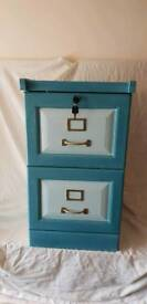 Painted wood filing cabinet