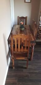 Jali sheesham wood table with 4 chairs