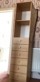 Tall Beech Shelves and Draws Unit