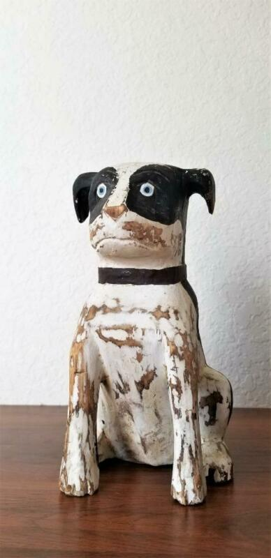 Jack Russell Terrier Hand Carved Wood Dog Statue Folk Art