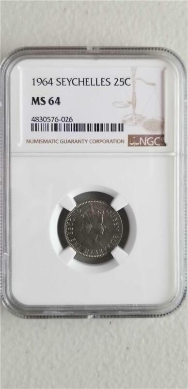 Seychelles 25 Cents 1964 NGC MS 64