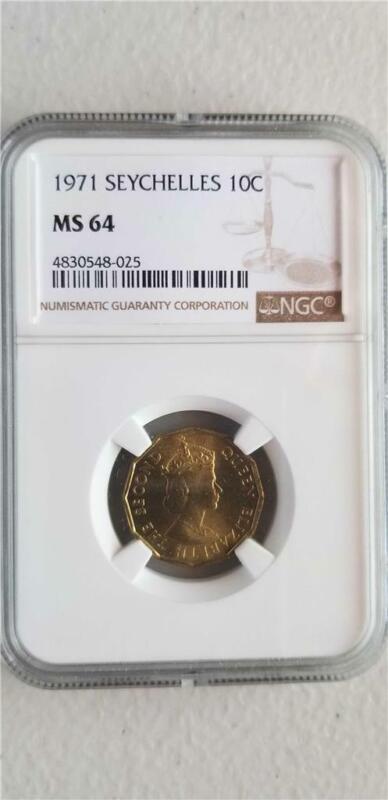 Seychelles 10 Cents 1971 NGC MS 64