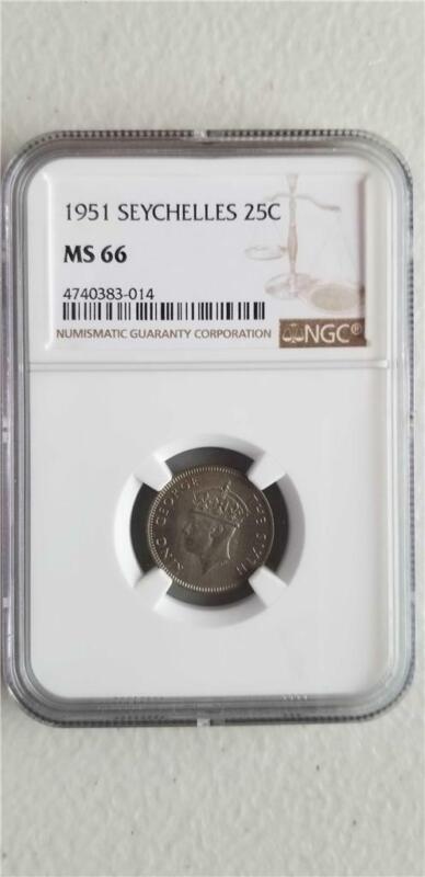 Seychelles 25 Cents 1951 NGC MS 66