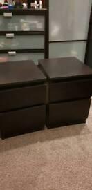 2 bedside tables cabinets in brown