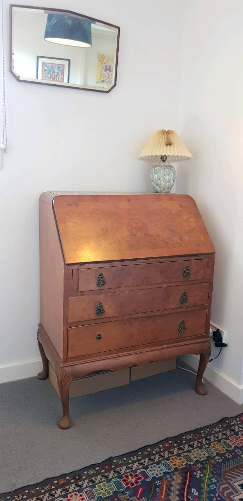 Small Art Deco Walnut Bureau Shabby Chic Retro In Craigleith Edinburgh Gumtree