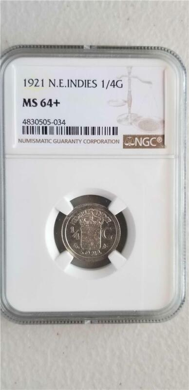 Netherlands East Indies 1/4 Gulden 1921 NGC MS 64+
