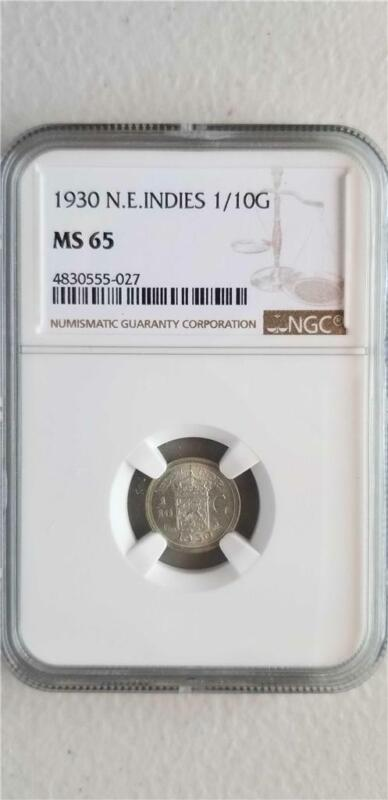 Netherlands East Indies 1/10 Gulden 1930 NGC MS 65