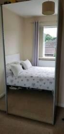 Double Mirrored Bedroom sliding door Wardrobe walnut finish for sale