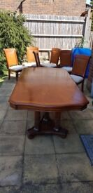 Solid Cherrywood Dining Table with Six Chairs, Glossy Condition