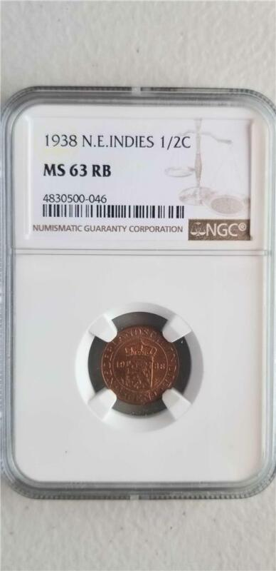 Netherlands East Indies 1/2 Cent 1938 NGC MS 63 RB