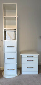 Freestanding spinning cabinet tower and bedside table