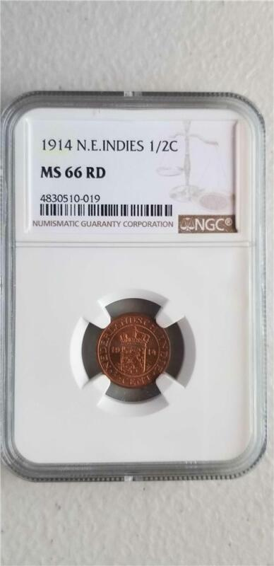 Netherlands East Indies 1/2 Cent 1914 NGC MS 66 RD