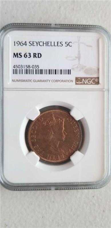 Seychelles 5 Cents 1964 NGC MS 63 RD