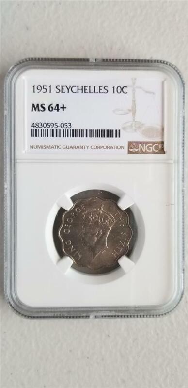 Seychelles 10 Cents 1951 NGC MS 64+
