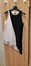 River Island size 10 asymmetrical Black and white top/dress tunic