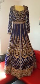 Royal Blue Bridal Dress with Trail