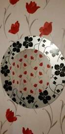 Floral round wall mirror