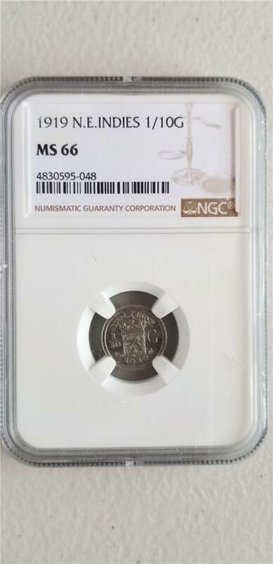 Netherlands East Indies 1/10 Gulden 1919 NGC MS 66