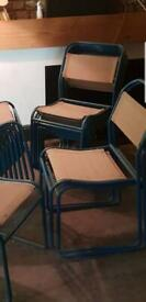 Vintage Metal & Canvas Stackable Chairs- 17 Available