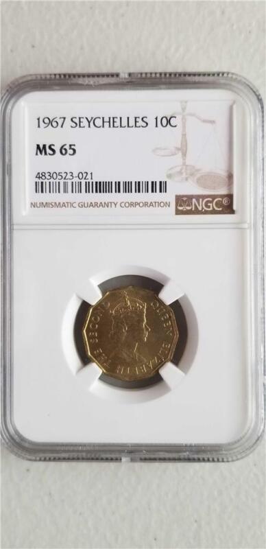 Seychelles 10 Cents 1967 NGC MS 65