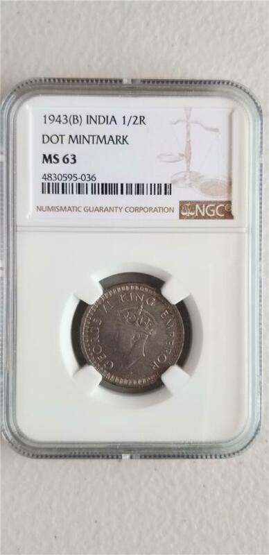 India 1/2 Rupee 1943B Dot Mintmark NGC MS 63