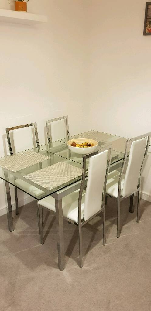Reduced Price Gl Dining Table And Chairs Barely Used In Brackley Northamptonshire Gumtree