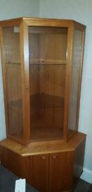 Wooden Corner Display Cabinet, with glass front and glass shelves
