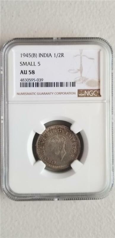 India 1/2 Rupee 1945B Small 5 NGC AU 58