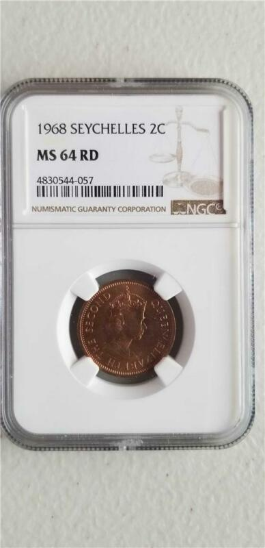 Seychelles 2 Cents 1968 NGC MS 64 RD