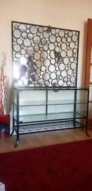 Glass display table with shelves + Decorative mirror